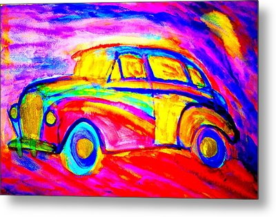 Driving Home Late At Night    Metal Print by Hilde Widerberg