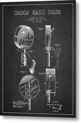 Droop Hand  Drum Patent Drawing From 1892 - Dark Metal Print by Aged Pixel