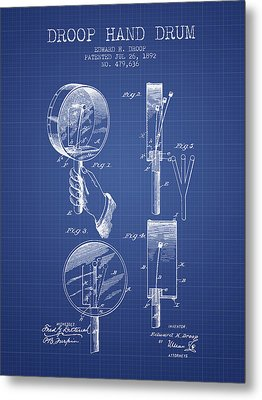 Droop Hand  Drum Patent From 1892  - Blueprint Metal Print by Aged Pixel