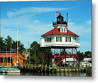 Drum Point Lighthouse Metal Print by Rebecca Sherman