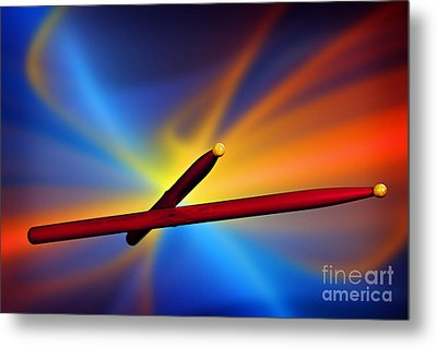 Drum Sticks Photograph For Combo Jazz  Color 3233.02 Metal Print by M K  Miller