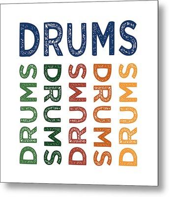 Drums Cute Colorful Metal Print by Flo Karp