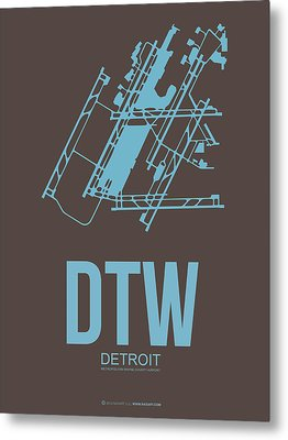 Dtw Detroit Airport Poster 1 Metal Print by Naxart Studio