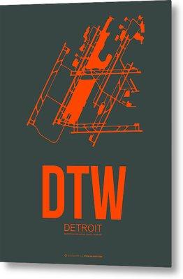 Dtw Detroit Airport Poster 3 Metal Print by Naxart Studio