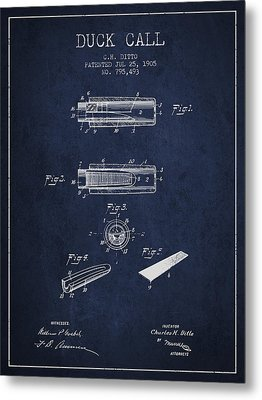 Duck Call Instrument Patent From 1905 - Navy Blue Metal Print by Aged Pixel