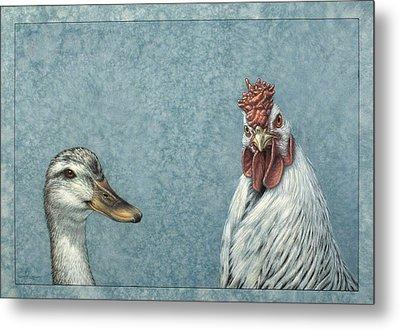 Duck Chicken Metal Print by James W Johnson