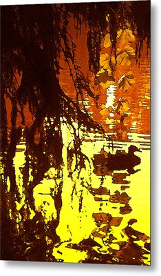 Ducks On Red Lake A Metal Print by Amy Vangsgard