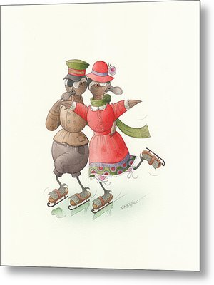 Ducks On Skates 01 Metal Print by Kestutis Kasparavicius