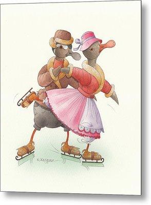 Ducks On Skates 12 Metal Print by Kestutis Kasparavicius