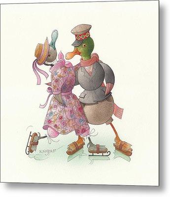 Ducks On Skates 14 Metal Print by Kestutis Kasparavicius