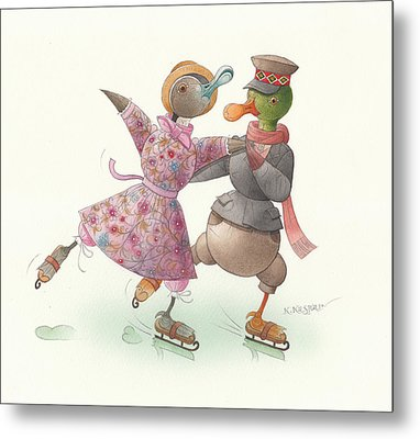 Ducks On Skates 16 Metal Print by Kestutis Kasparavicius