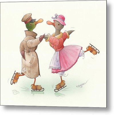 Ducks On Skates 17 Metal Print by Kestutis Kasparavicius