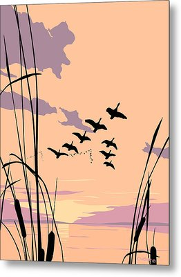 Abstract Ducks Sunset 1980s Acrylic Ducks Sunset Large 1980s Pop Art Nouveau Painting Retro      Metal Print by Walt Curlee