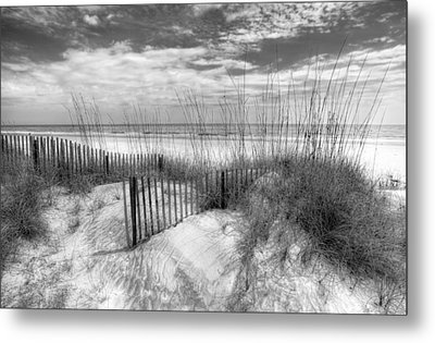 Dune Fences Metal Print by Debra and Dave Vanderlaan