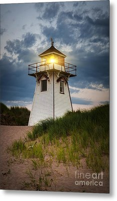 Dusk At Covehead Harbour Lighthouse Metal Print by Elena Elisseeva