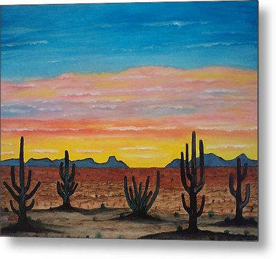 Dusk At Sonoran Desert Metal Print by Jorge Cristopulos
