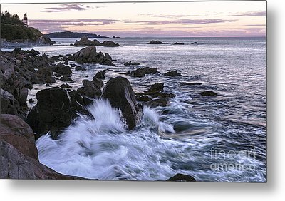 Dusk At West Quoddy Head Light Metal Print by Marty Saccone