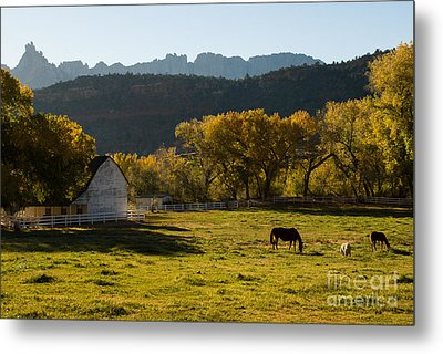 Eagle Crags Above Two Feathers Ranch Rockville Utah Metal Print by Robert Ford