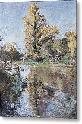 Early Autumn On The River Test Metal Print by Caroline Hervey-Bathurst