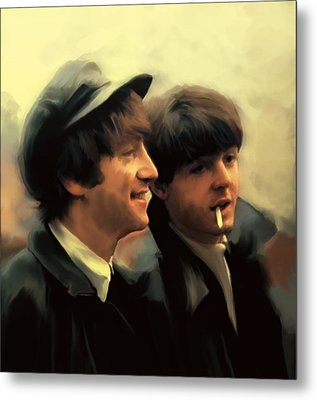 Early Days II John Lennon And Paul Mccartney Metal Print by Iconic Images Art Gallery David Pucciarelli