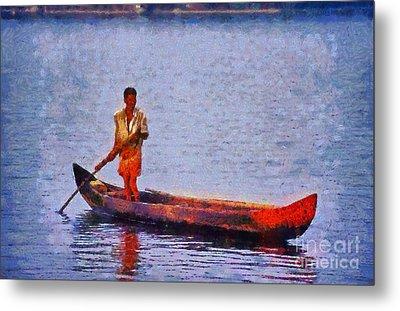 Early Morning Fishing In India Metal Print by George Atsametakis