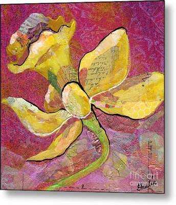 Early Spring Iv Daffodil Series Metal Print by Shadia Zayed