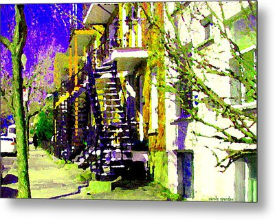 Early Spring Stroll City Streets With Spiral Staircases Art Of Montreal Street Scenes Carole Spandau Metal Print by Carole Spandau