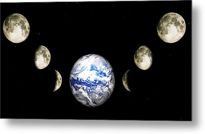Earth And Phases Of The Moon Metal Print by Bob Orsillo