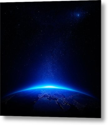 Earth At Night With City Lights Metal Print by Johan Swanepoel