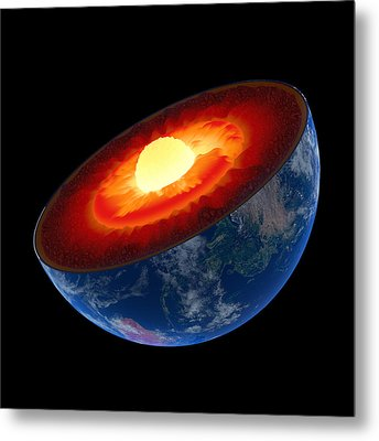 Earth Core Structure To Scale - Isolated Metal Print by Johan Swanepoel
