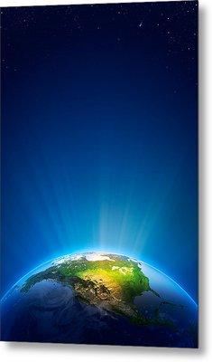 Earth Radiant Light Series - North America Metal Print by Johan Swanepoel