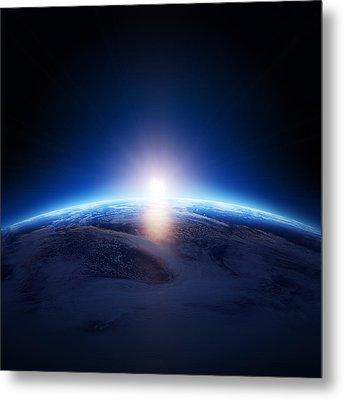 Earth Sunrise Over Cloudy Ocean  Metal Print by Johan Swanepoel
