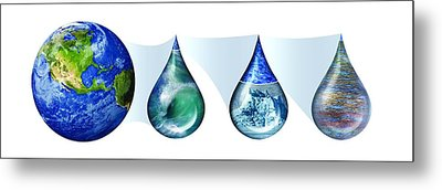 Earth's Water Resources Metal Print by Nicolle R. Fuller