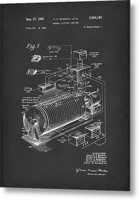 Eckdahl Computer 1960 Patent Art Black Metal Print by Prior Art Design