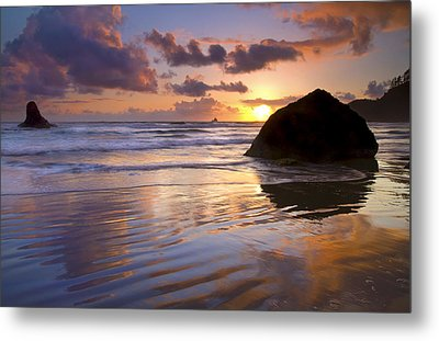 Ecola Sunset Metal Print by Mike  Dawson