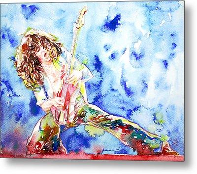 Eddie Van Halen Playing The Guitar.1 Watercolor Portrait Metal Print by Fabrizio Cassetta