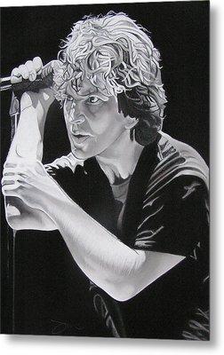Eddie Vedder Black And White Metal Print by Joshua Morton