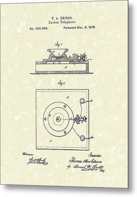 Edison Telephone 1879 Patent Art Metal Print by Prior Art Design