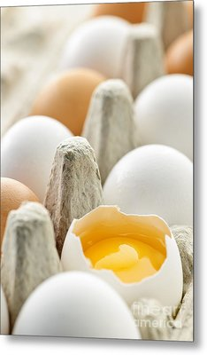 Eggs In Box Metal Print by Elena Elisseeva