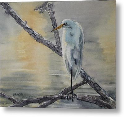 Egret At Dusk Metal Print by Patricia Pushaw