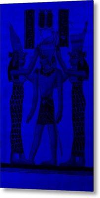 Pharaoh Atem Blue Metal Print by Rob Hans
