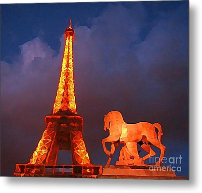 Eiffel Tower And Horse Metal Print by John Malone