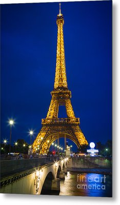 Eiffel Tower By Night Metal Print by Inge Johnsson