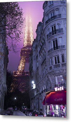 Eiffel Tower From A Side Street Metal Print by Simon Kayne