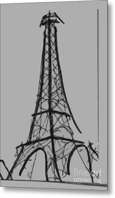 Eiffel Tower Lines Metal Print by Robyn Saunders