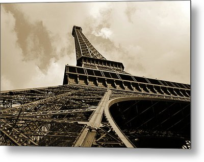Eiffel Tower Paris France Black And White Metal Print by Patricia Awapara
