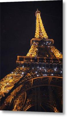 Eiffel Tower Paris France Illuminated Metal Print by Patricia Awapara