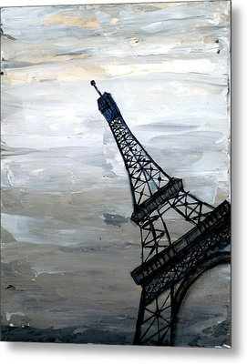 Eiffel Tower Silhouette Metal Print by Holly Anderson