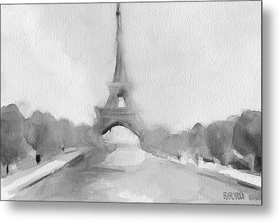 Eiffel Tower Watercolor Painting - Black And White Metal Print by Beverly Brown Prints