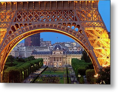 Eiffel Tower With Ecole Militaire Metal Print by Brian Jannsen